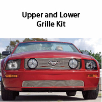GT Upper & Lower Stainless Grille Kit - Pony Cutout - 05-09 GT