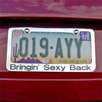 """Bringin' Sexy Back"" License Plate Frame"