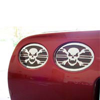 C5 Corvette 4pc Polished Skull Taillight Grilles