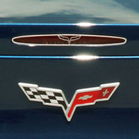 Corvette C6 5th Brake Light Trim Crossed Flags Style - 05-13