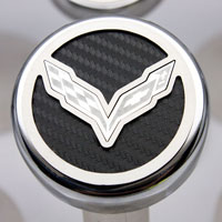 Corvette C7 Automatic 5pc Fluid Cap Cover Set w/Flag Emblem
