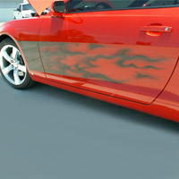 Camaro Air Brushed Flame 2pc Side Graphic - 2010-2012