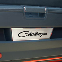 'CHALLENGER' Script 2pc Door Badge Plate Brushed - 08-13