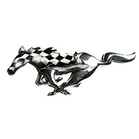 Mustang Chrome Painted Pony - Checkered Flag and Ripped Metal