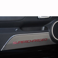 Camaro 2pc Door Panel Kick Plates SUPERCHARGED Style - 10-13