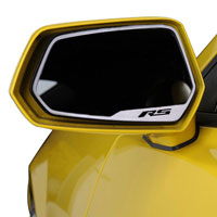 "Camaro Side View Mirror Trim ""RS"" Lettering Brushed - 10-13"