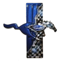 Mustang Checkered Flag Painted Side Emblems - 1994-2015
