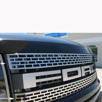 Ford Raptor 2pc Upper Front Grille Brushed/Polished - 10-13