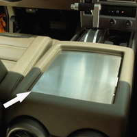 H2 Stainless Center Console Box Plate Brushed w/Polished Ring