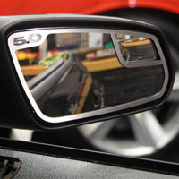 Mustang 2pc 5.0 Side View Brushed Mirror Trim - 11-12