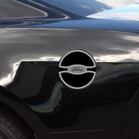 "Mustang Gas Cap Cover ""Ford"" Oval Style Rivet Polished - 11-13"