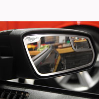 Mustang 2pc Mirror Trim Pony Style Side View Brushed - 11-13