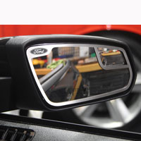 "Mustang 2pc Mirror Trim ""Ford"" Side View Brushed - 11-13"