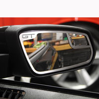 "Mustang 2pc Mirror Trim ""GT"" Side View Brushed - 11-13"