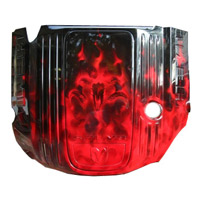 Painted Engine Cover - Brilliant Black Pearl Real Fire w/Red