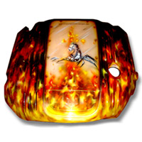 Painted Engine Cover - Brilliant Blk Pearl Real Fire w/ Scorpion
