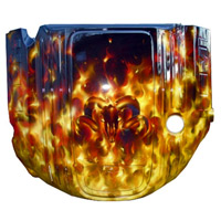 Painted Engine Cover - Brilliant Black Pearl Real Fire w/Ram