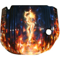 Painted Engine Cover - Brilliant Blk Pearl Real Fire w/ Lady