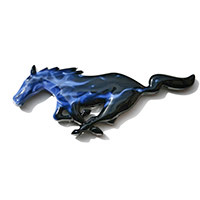 Mustang Painted Flaming Pony - Black Base w/Candy Blue Fire