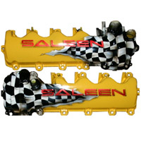 Saleen Yellow w/Checkered Flag Valve Covers - Mustang 05-09
