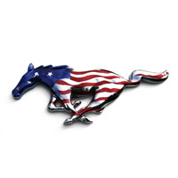 Mustang Chrome Painted Pony - American Flag - 94-15