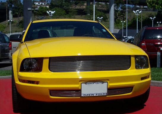 2005 2009 Mustang V6 Billet Overlay Grille Upper And