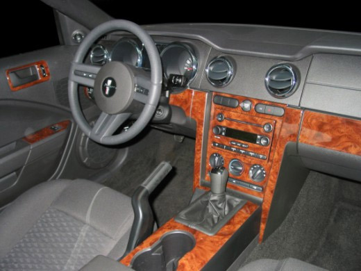 small wood dash kit mustang 2005 2009 coupe or convertible 2d 167 parts. Black Bedroom Furniture Sets. Home Design Ideas