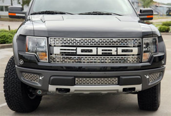 Ford Raptor 2pc Outer Lower Front Grille Brushed/Polished-10-13