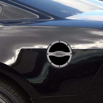 "Mustang Gas Cap Cover ""Ford\"" Oval Style Rivet Polished - 11-13"